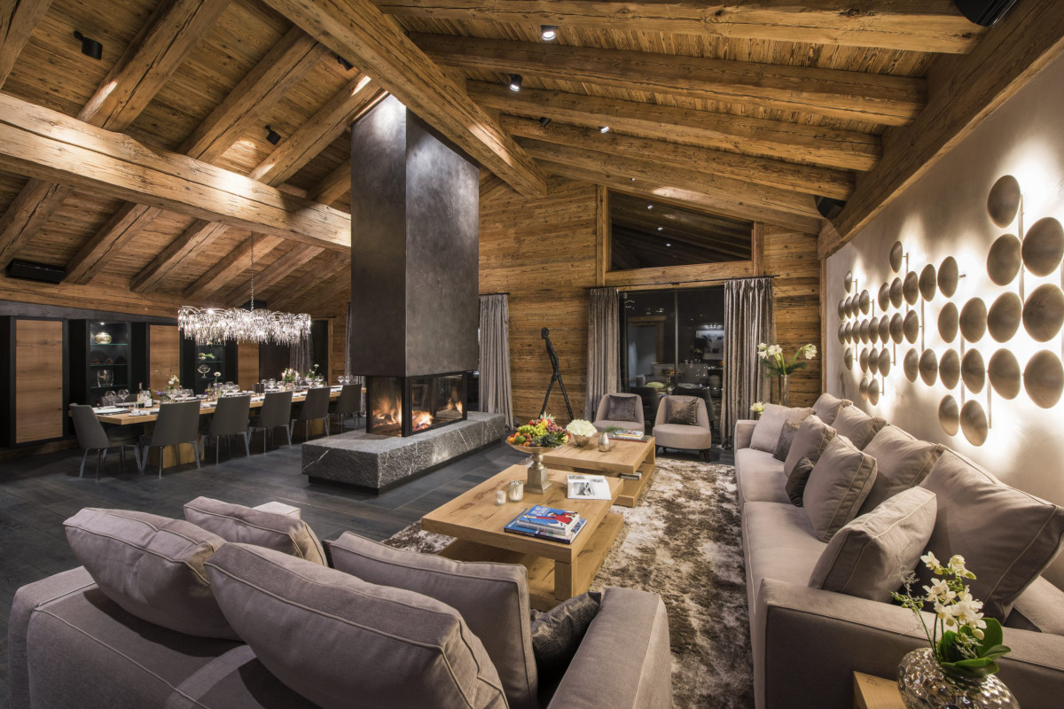 Lounge and dining living space at Chalet Aconcagua in Zermatt