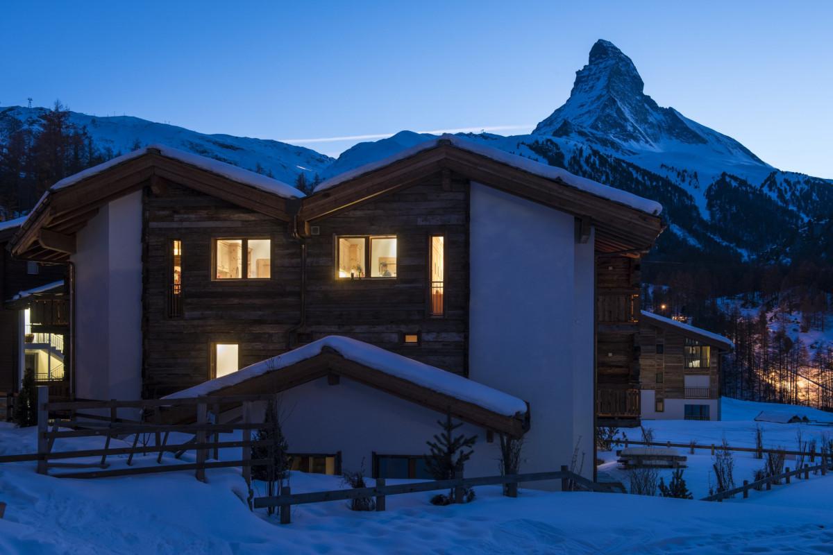 Night time view of Apartment Alex with Matterhorn backdrop in Zermatt