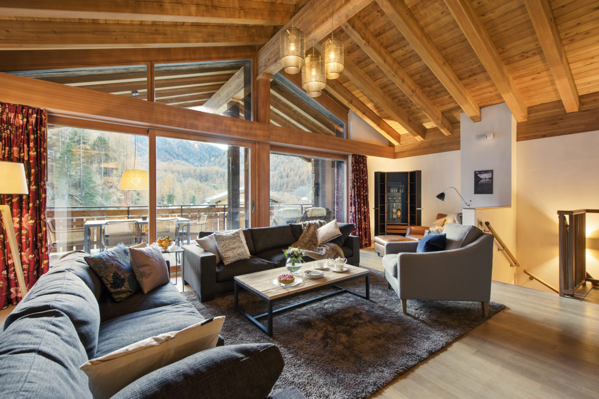 Lounge and one of the living spaces at Apartment Alex in Zermatt