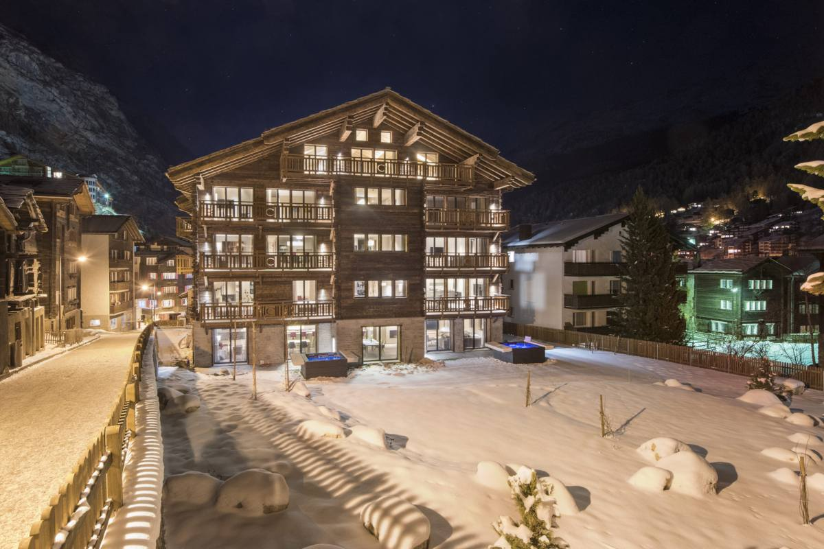 Exterior in winter of the Christiania Residence in Zermatt