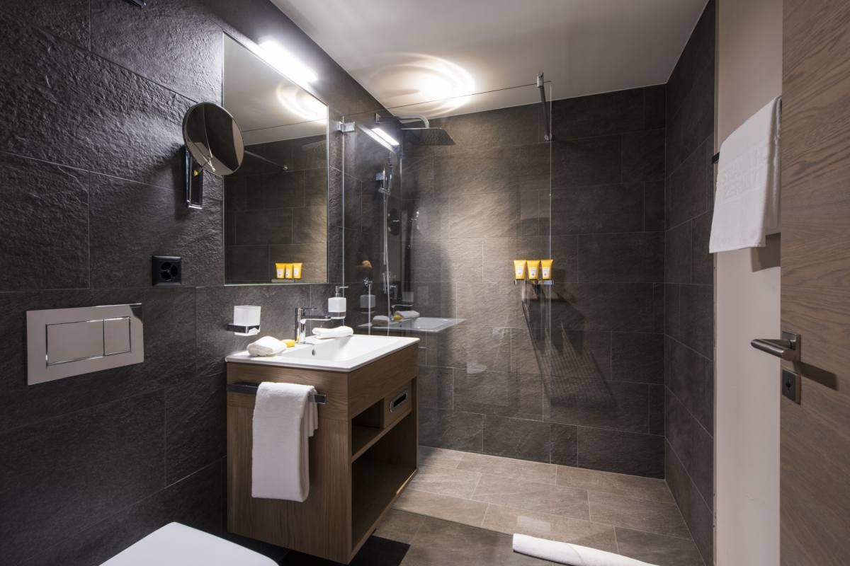 En suite shower room at Christiania Apartment 7 in Zermatt