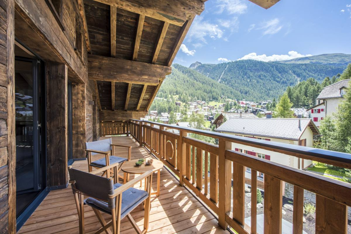 Views from the balcony at Christiania Penthouse in Zermatt