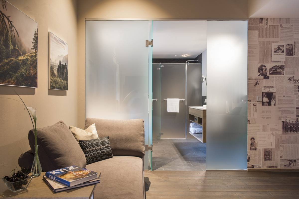 View into en suite bathroom at Christiania Penthouse in Zermatt