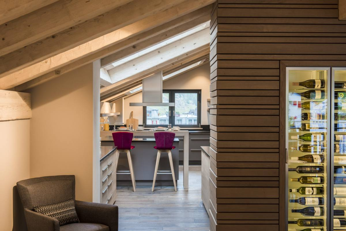View into kitchen at Christiania Penthouse in Zermatt