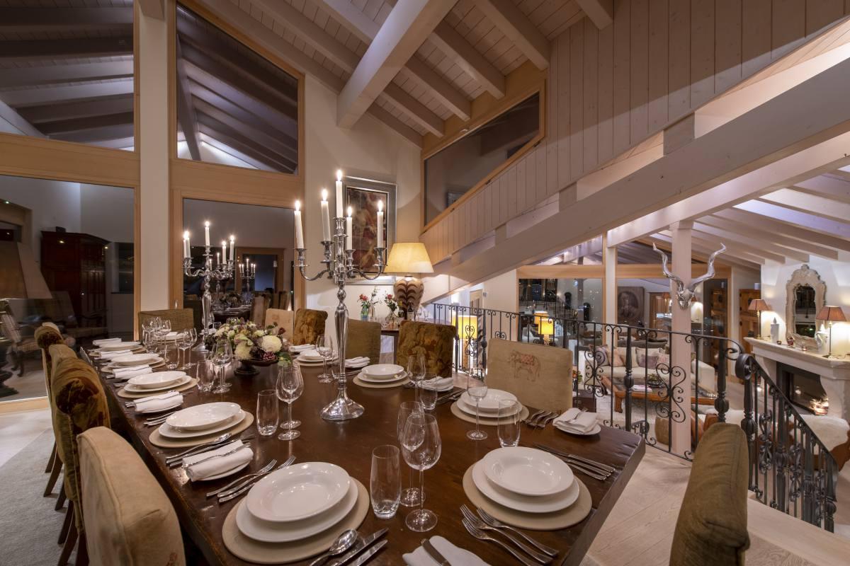 Dining table set for dinner at Chalet Grace in Zermatt