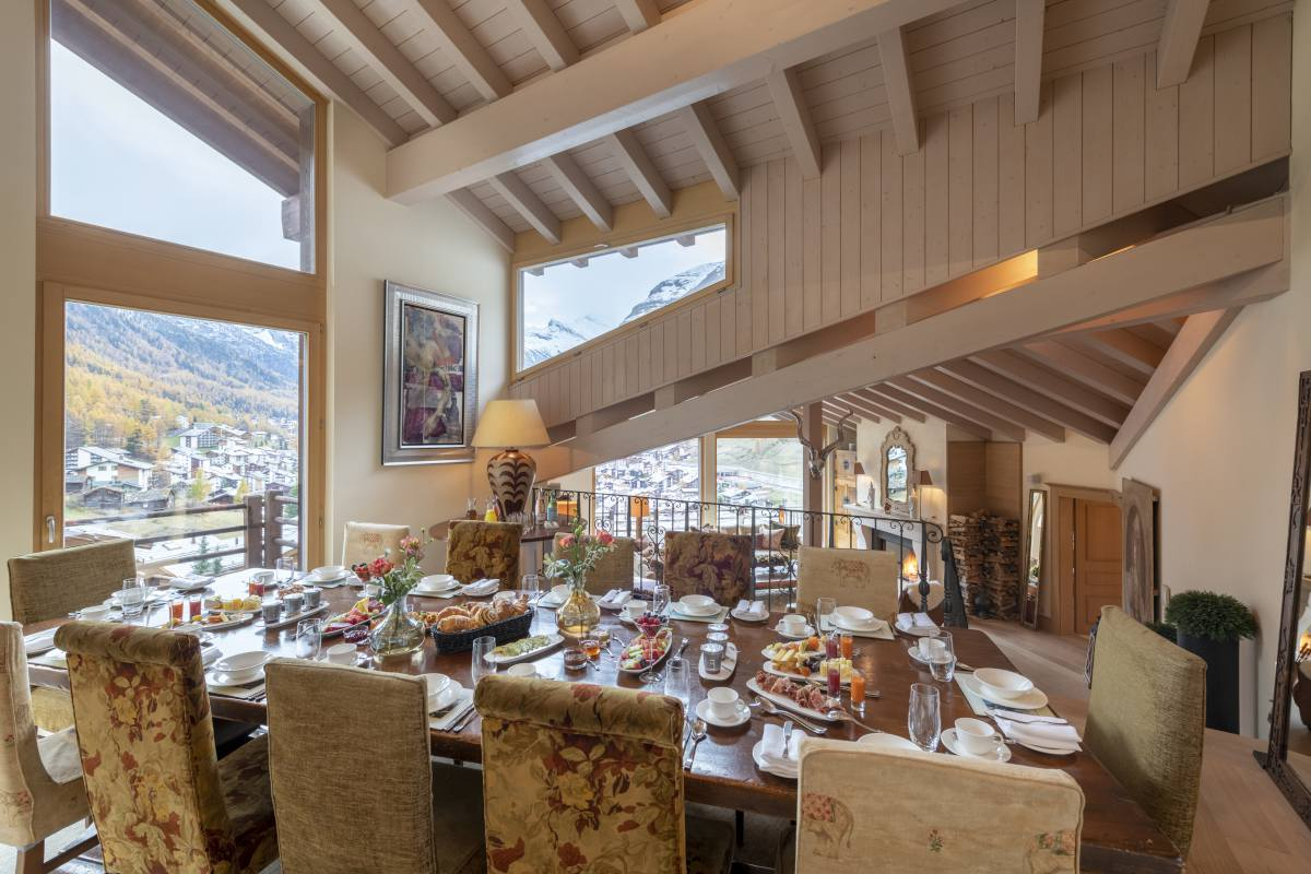 Elevated dining area at Chalet Grace in Zermatt