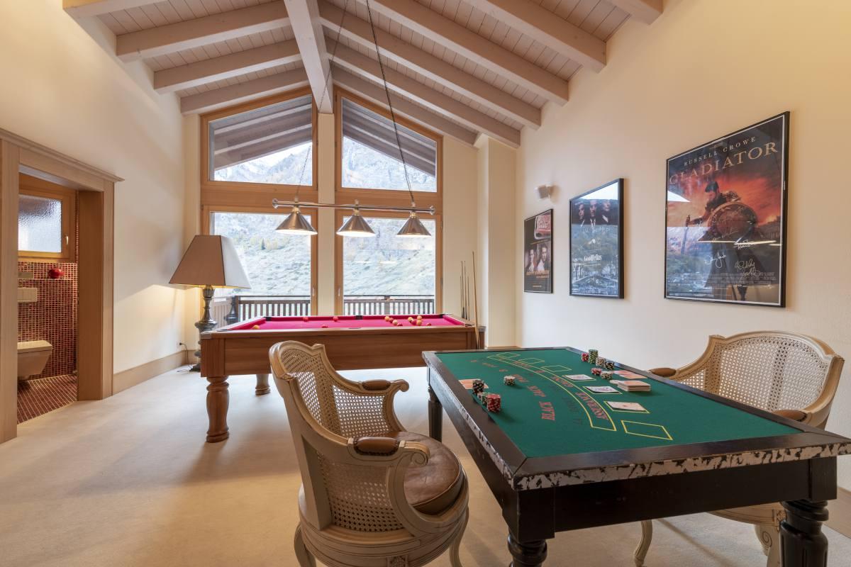 Games room at Chalet Grace in Zermatt