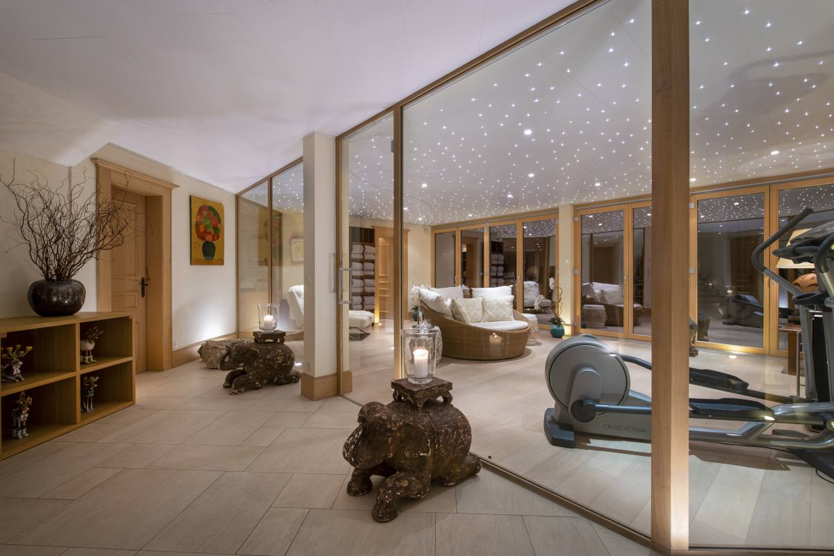 View into yoga and fitness room at Chalet Grace in Zermatt