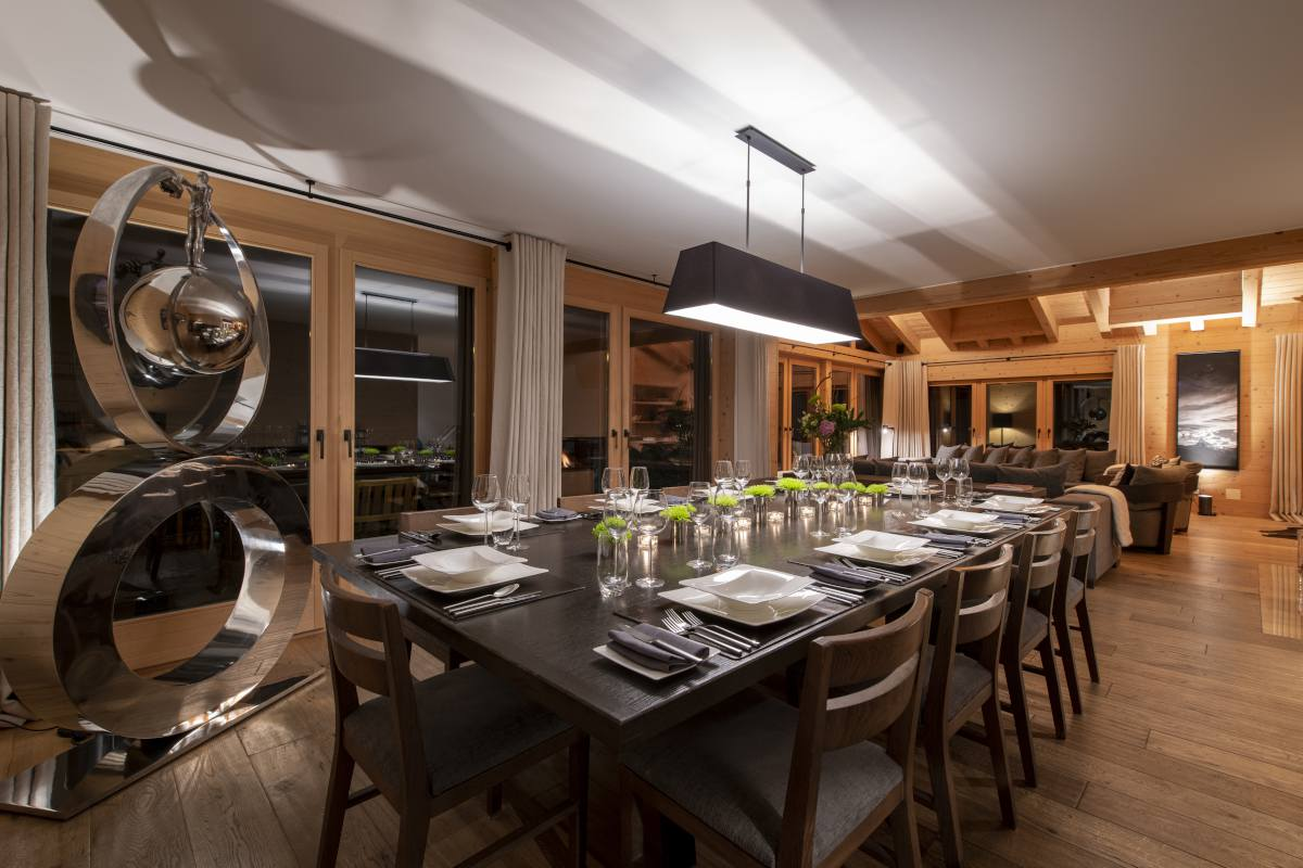 Dining table set for dinner at Chalet Maurice in Zermatt