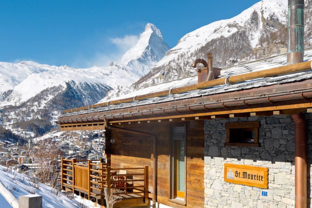Exterior and Matterhorn views from Chalet Maurice in Zermatt