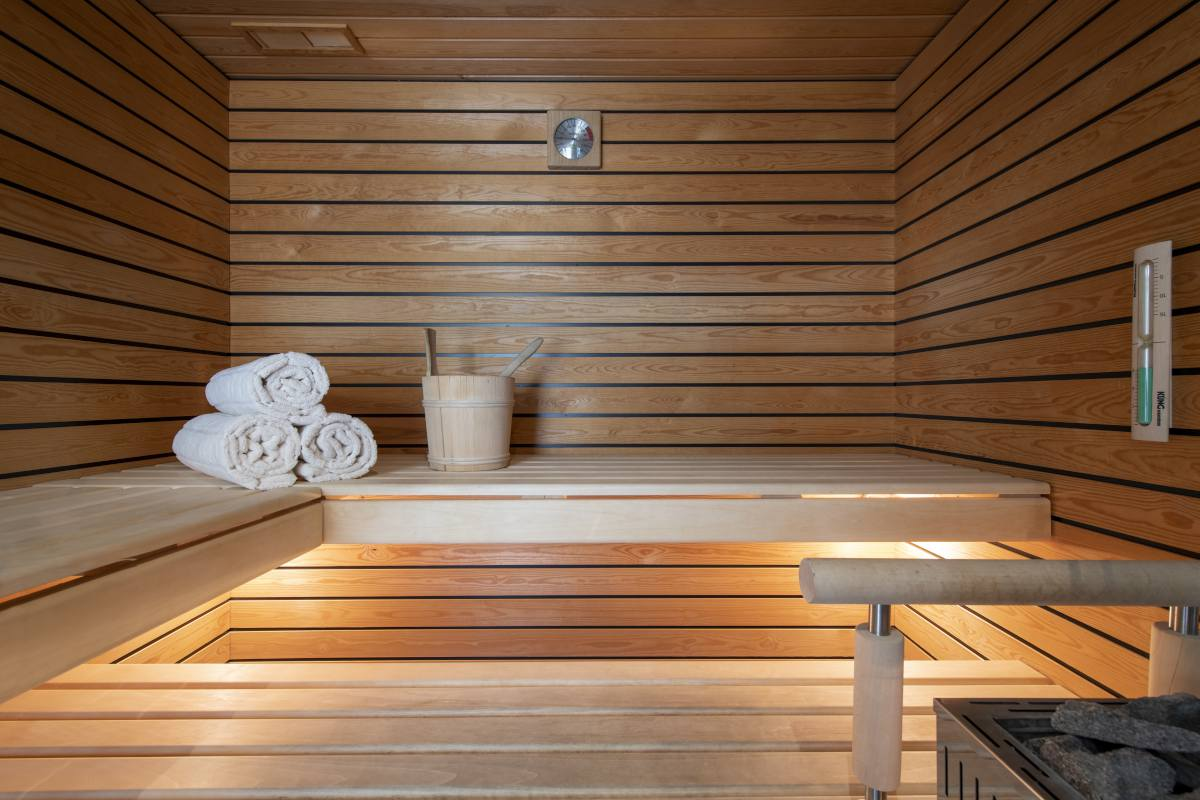 Sauna in spa area at Chalet Maurice in Zermatt