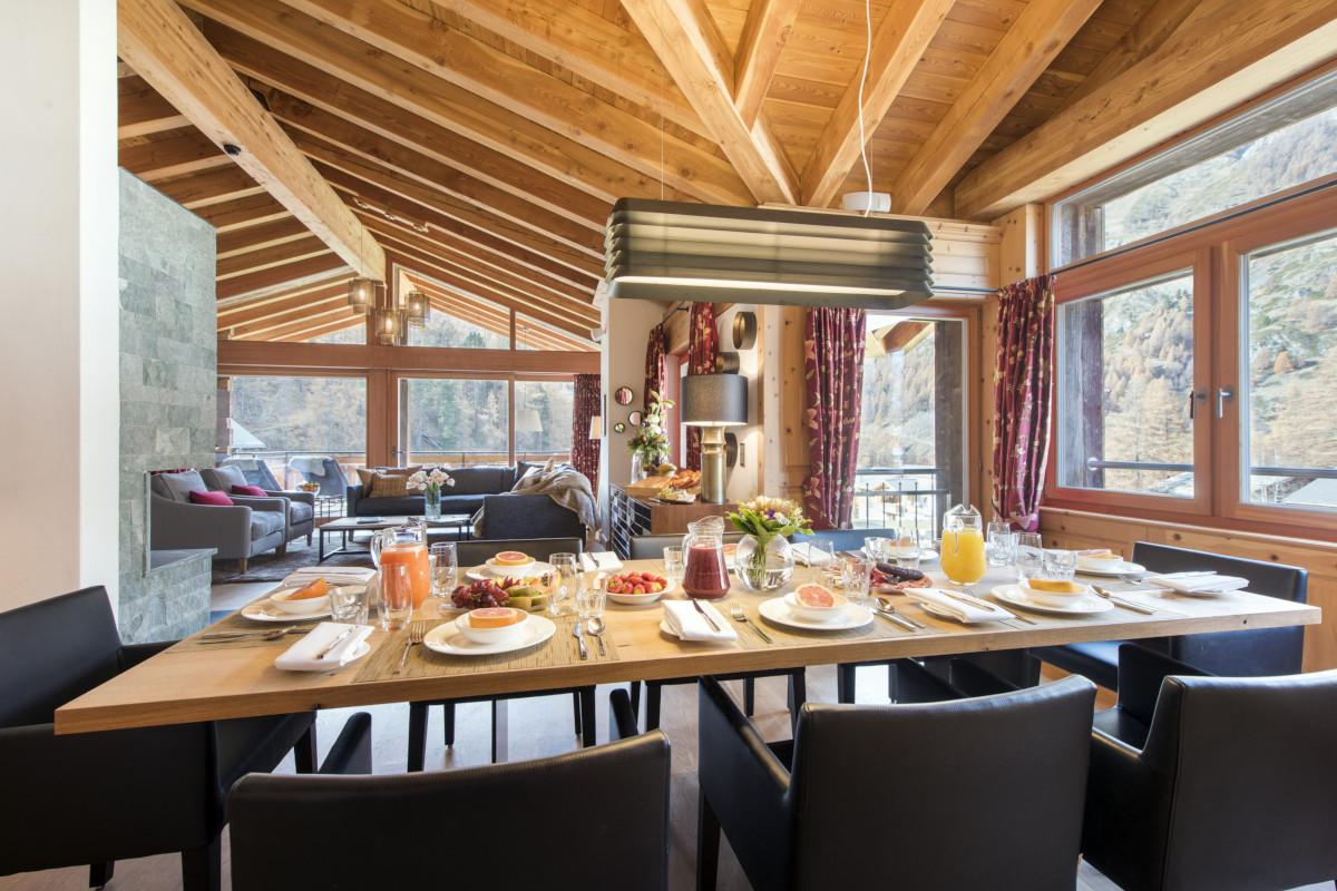 Breakfast table at Chalet Shalimar in Zermatt