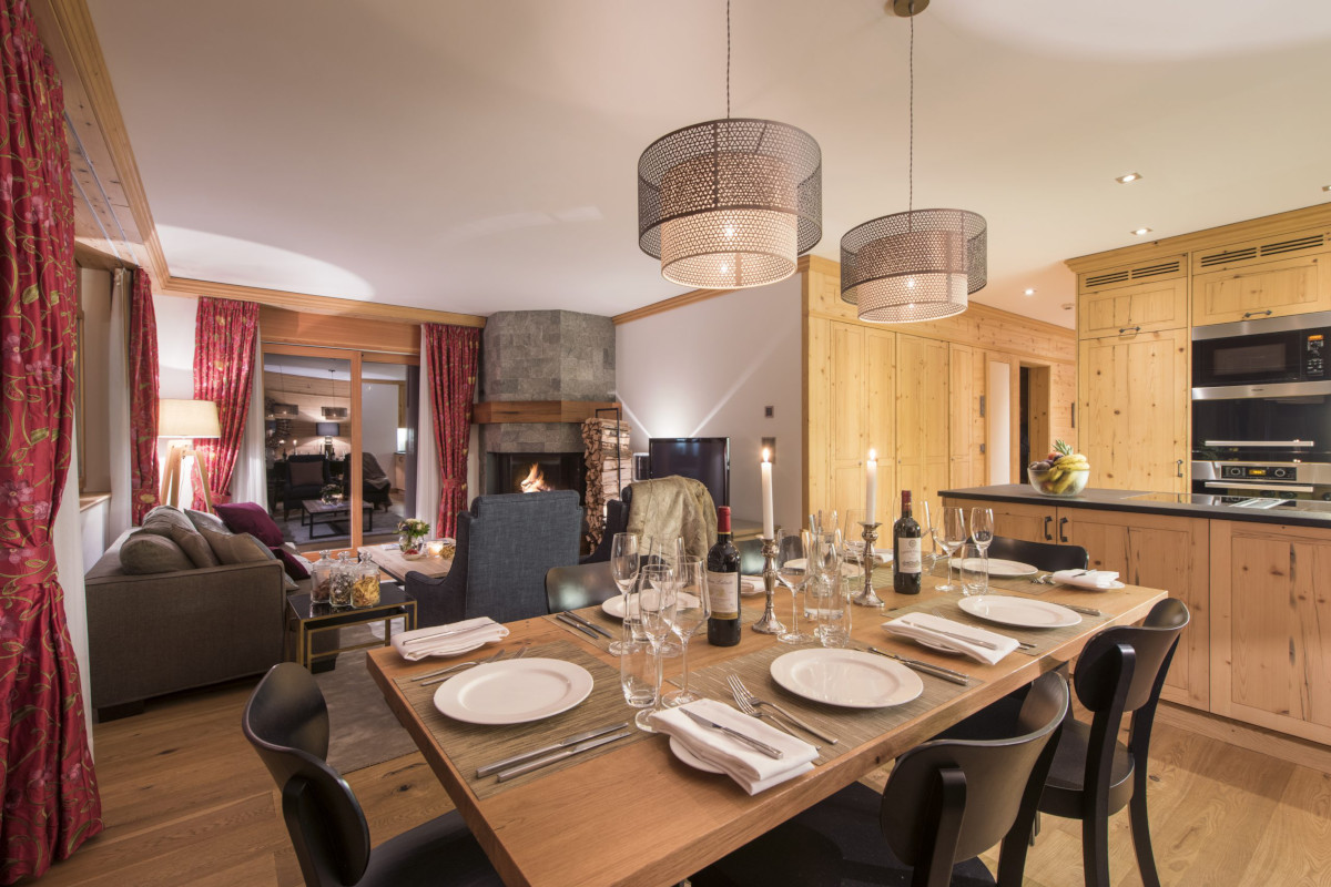 Dining area and kitchen down stairs at Chalet Shalimar in Zermatt