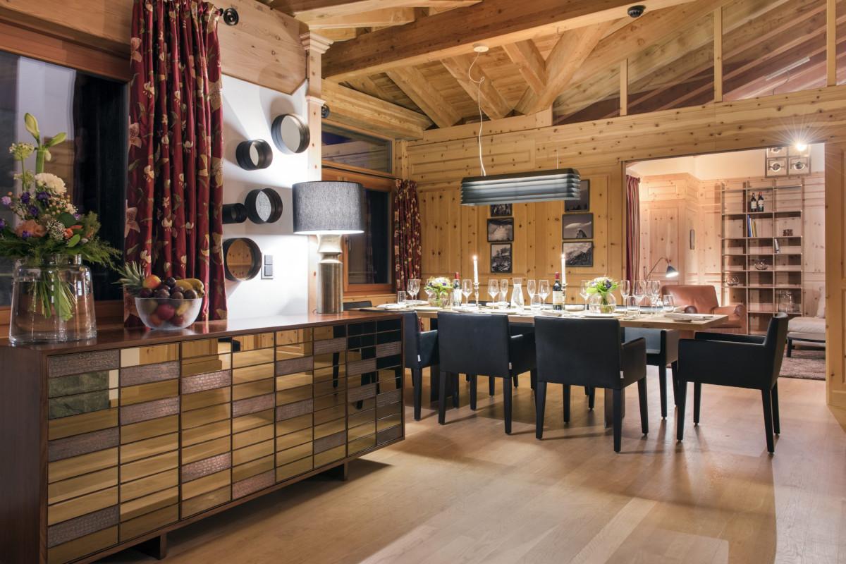 Upstairs dining area at Chalet Shalimar in Zermatt