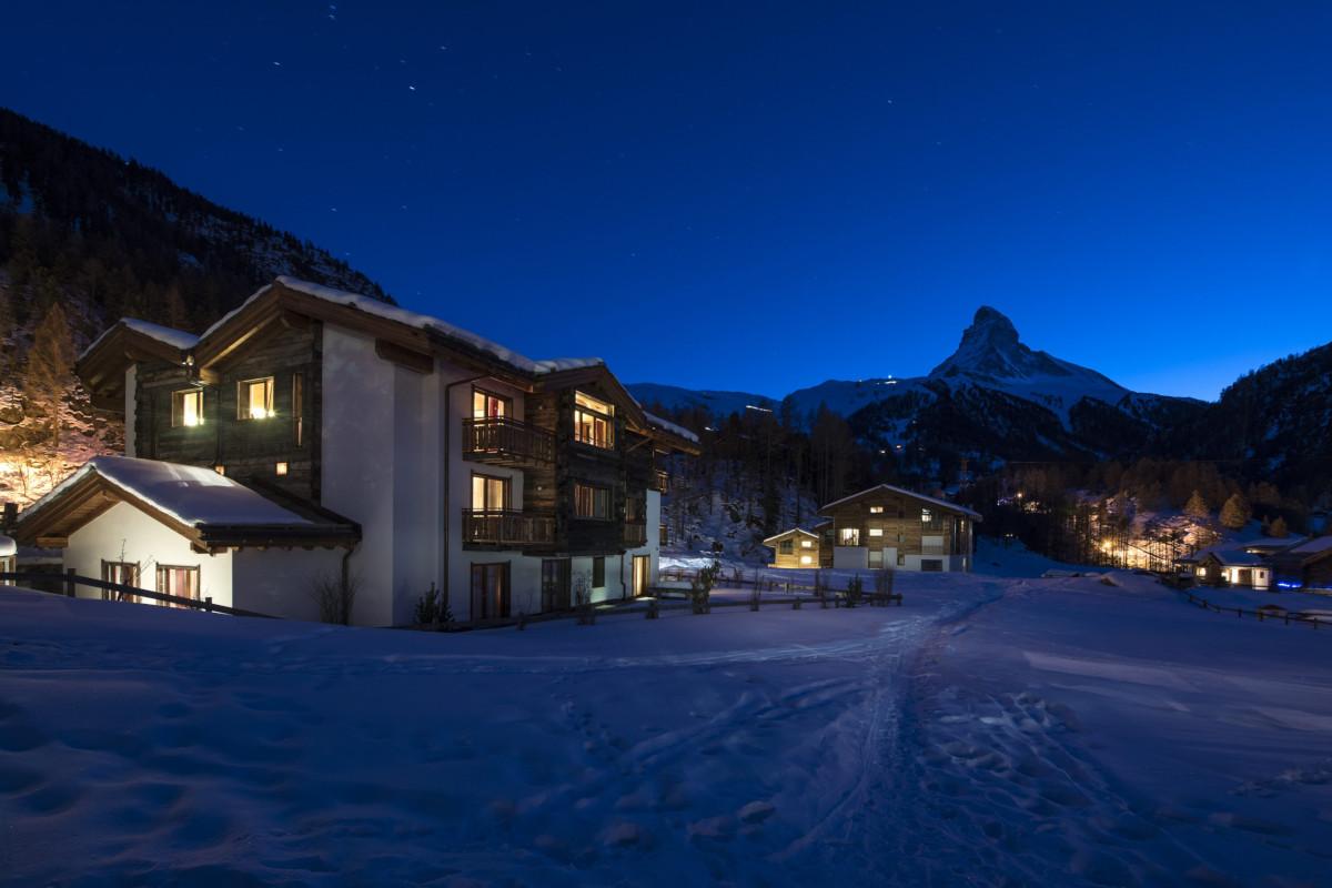 Evening light at Chalet Shalimar and The Matterhorn at Chalet Shalimar in Zermatt