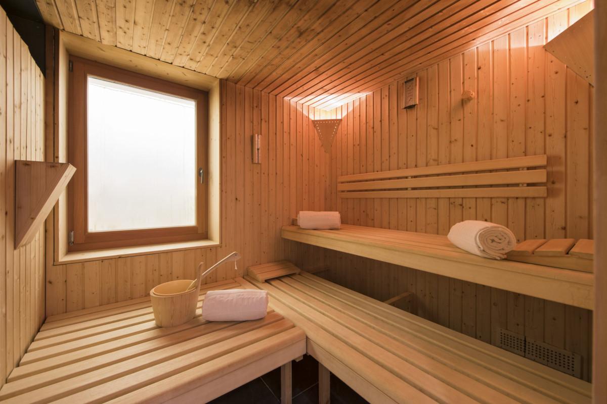 Sauna in the spa at Chalet Shalimar in Zermatt