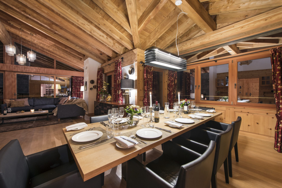 Upstairs dining table at Chalet Shalimar in Zermatt