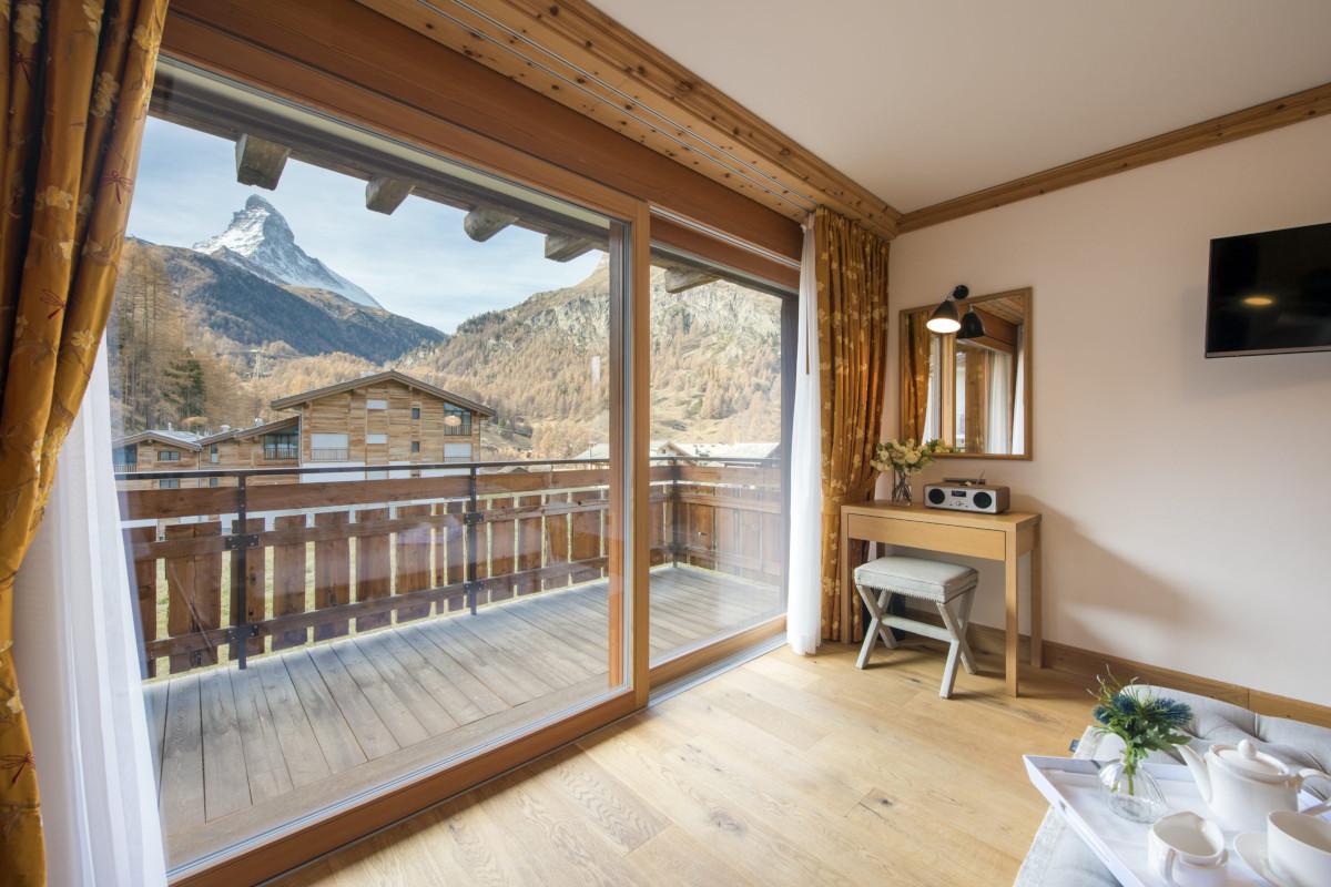 Double bedroom with view of The Matterhorn at Chalet Shalimar in Zermatt