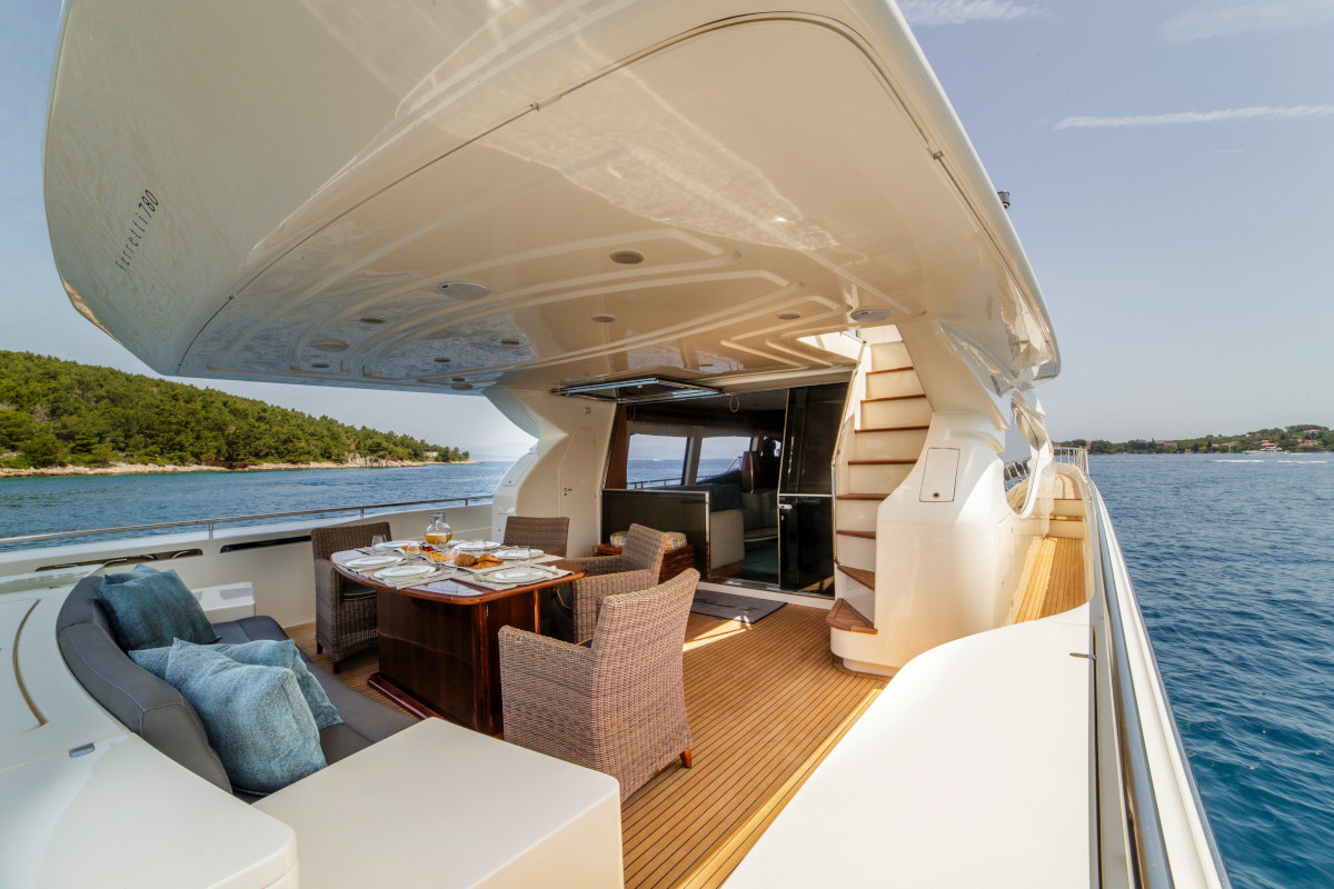 Cruising Adriatic and Croatia with aft deck relaxation on M/Y Orlando L
