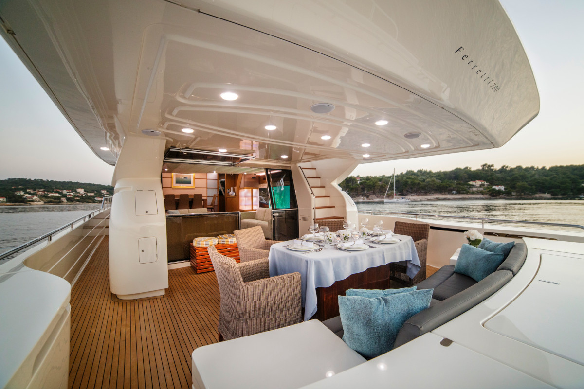 Aft deck dining and relaxation on M/Y Orlando in Croatia