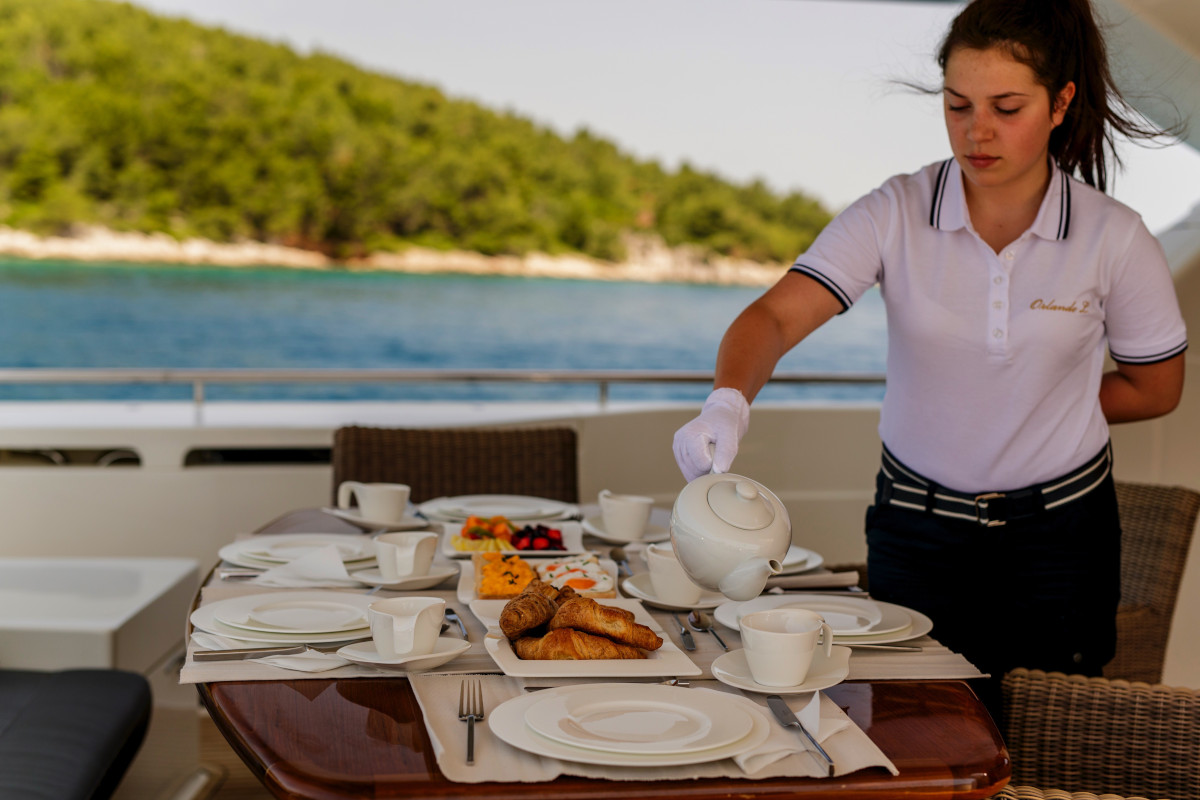 Breakfast served on the aft deck in Croatia on M/Y Orlando L