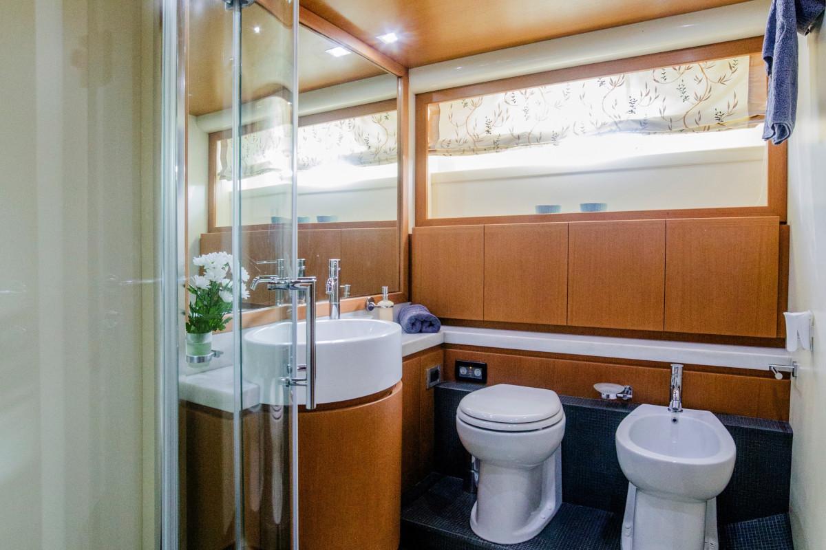 Ensuite bathroom with shower toilet and bidet on M/Y Orlando L
