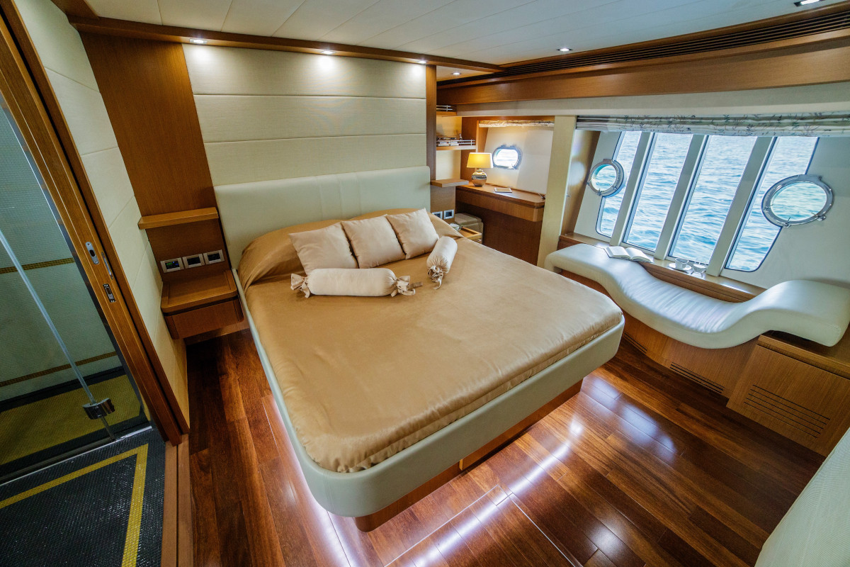 Master Stateroom with chaise Longe window seating on M/Y Orlando L