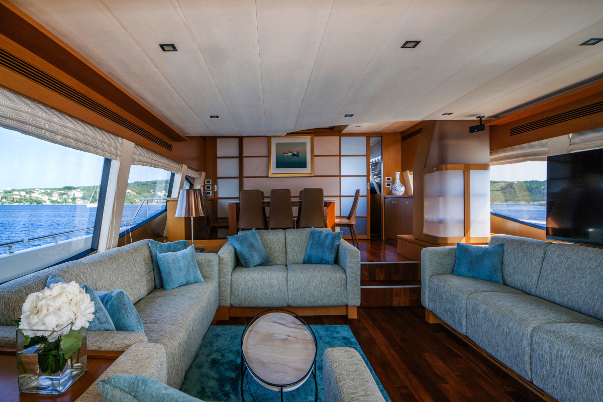 Stylish saloon seating and living space on M/Y Orlando L