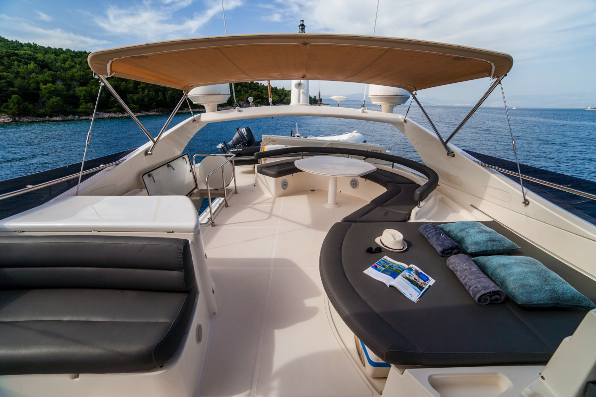 Sun deck relaxation and sunning space on M/Y Orlando L in Croatia