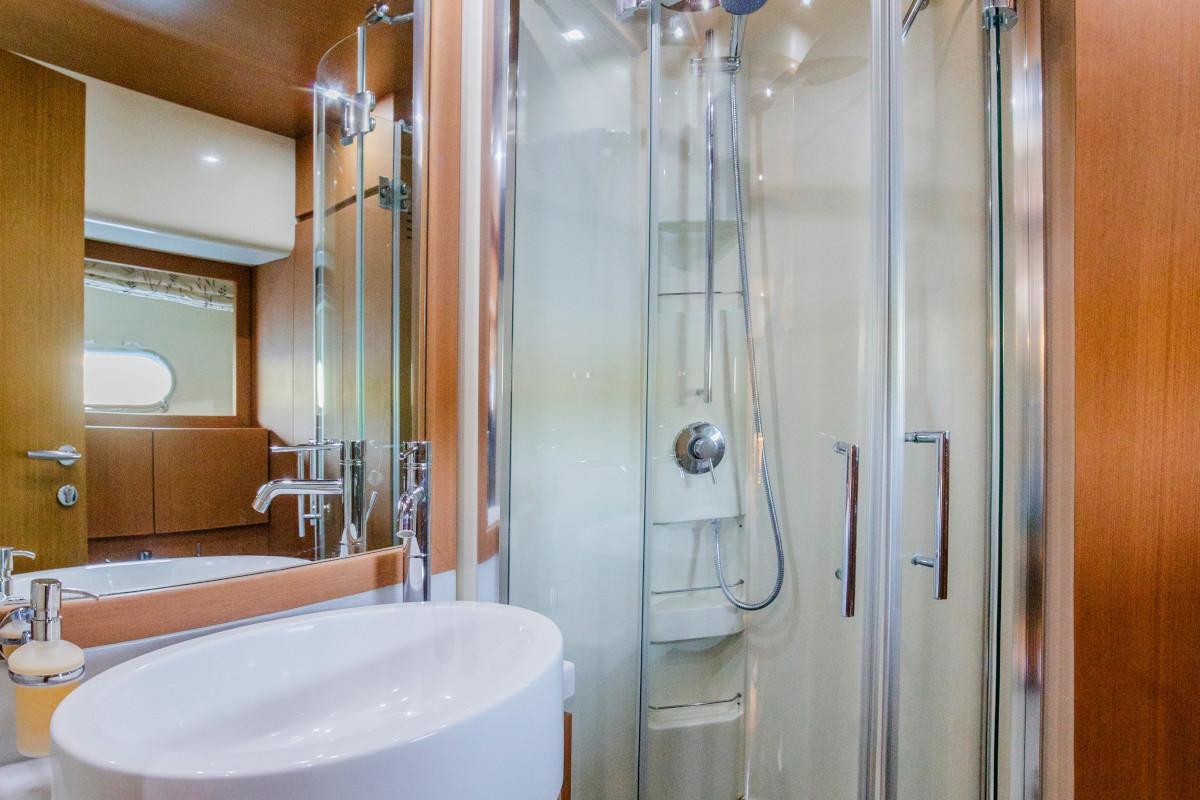 Ensuite shower bathroom on M/Y Orlando L