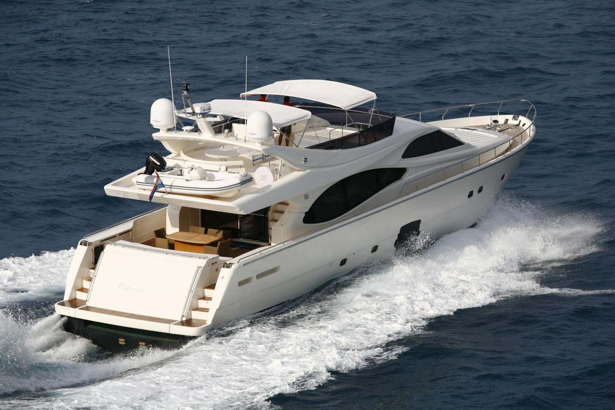 M/Y Orlando L stern view with aft deck underway in Croatia