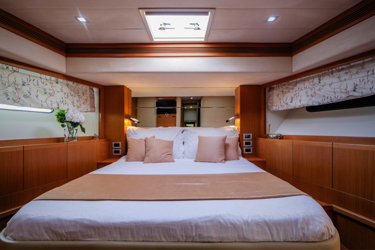 The V.I.P. stateroom on M/Y Orlando L has a queen size bed and ensuite bathroom