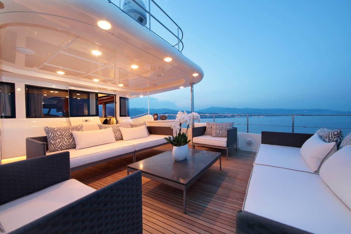 M/Y Lady Soul upper deck seating with fantastic views