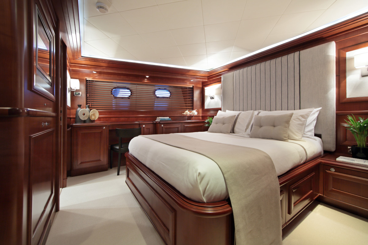 M/Y Lady Soul V.I.P. stateroom number two with ensuite bathroom