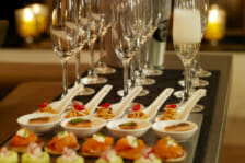 Canapes and Veuve champagne Chalet Maurice, zermatt