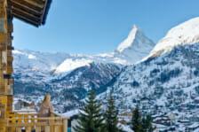 Bedroom balcony with view of the Matterhorn, Chalet Les Anges, Zermatt.