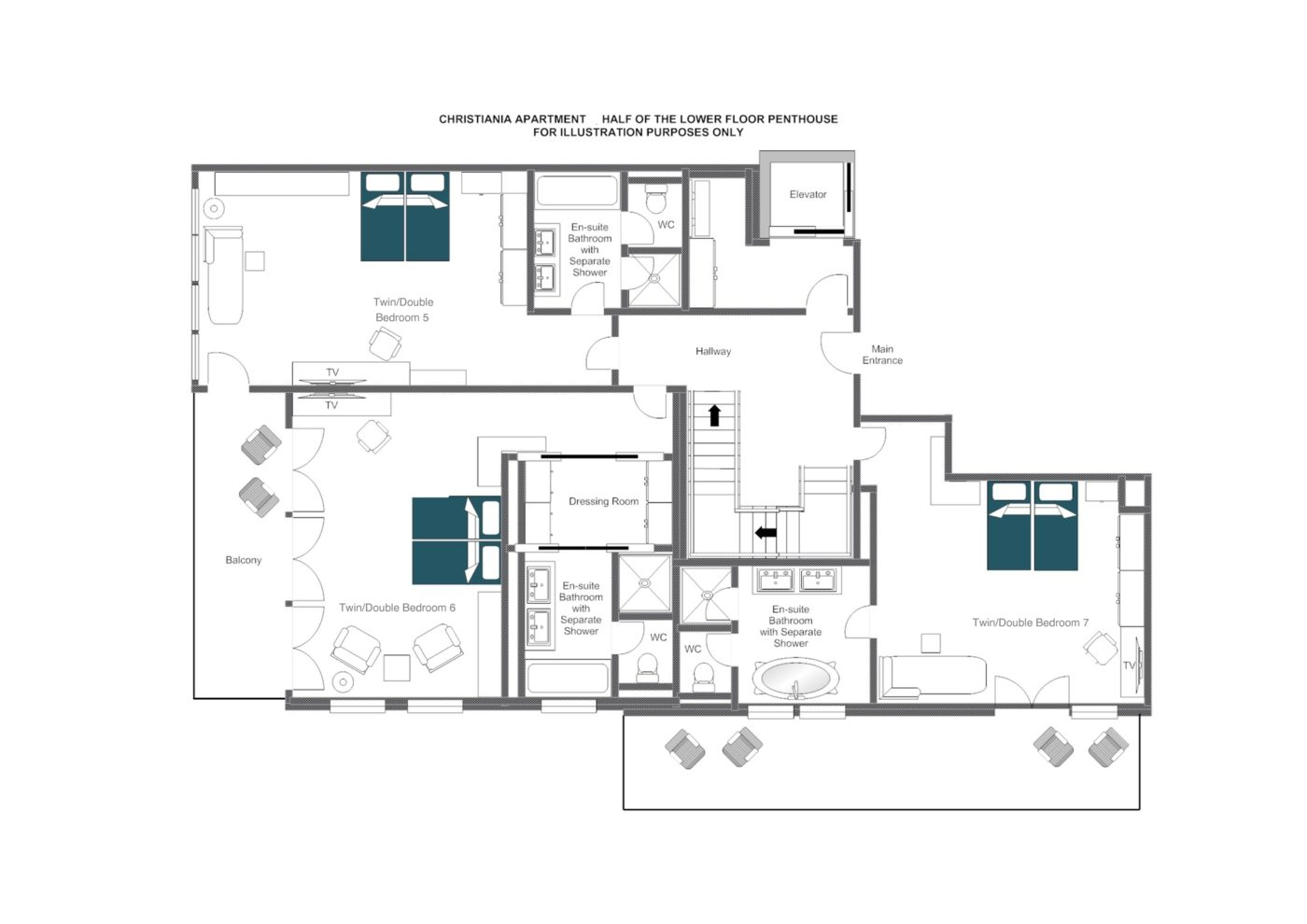 Christiania apartment penthouse floorplans, Zermatt