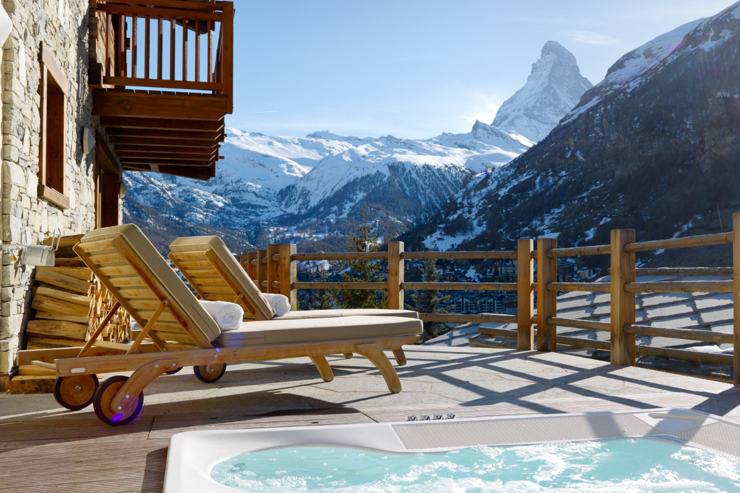 Chalet Maurice hot tub with Matterhorn views, Zermatt