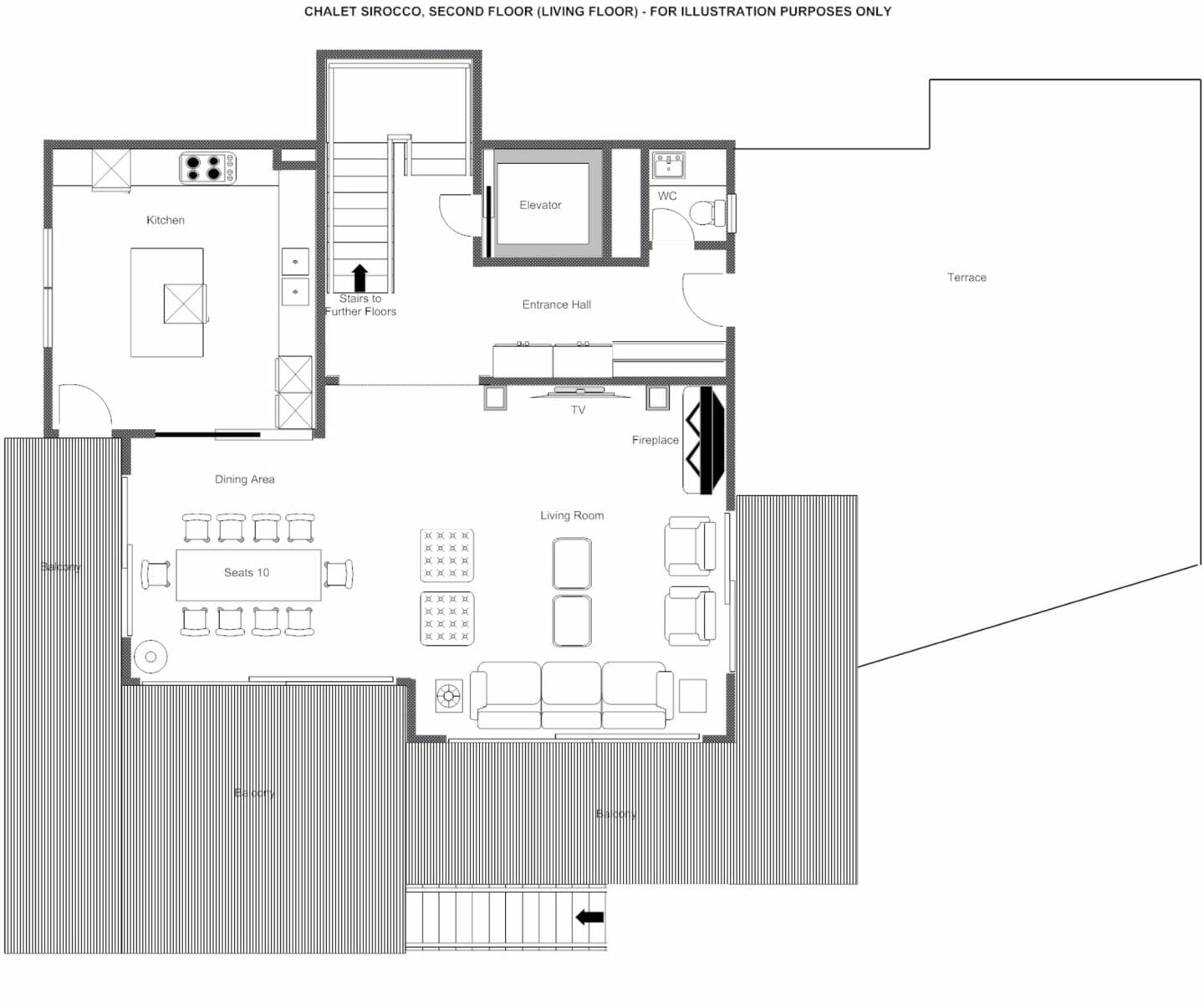 Second floor plans of Chalet Sirocco, Verbier