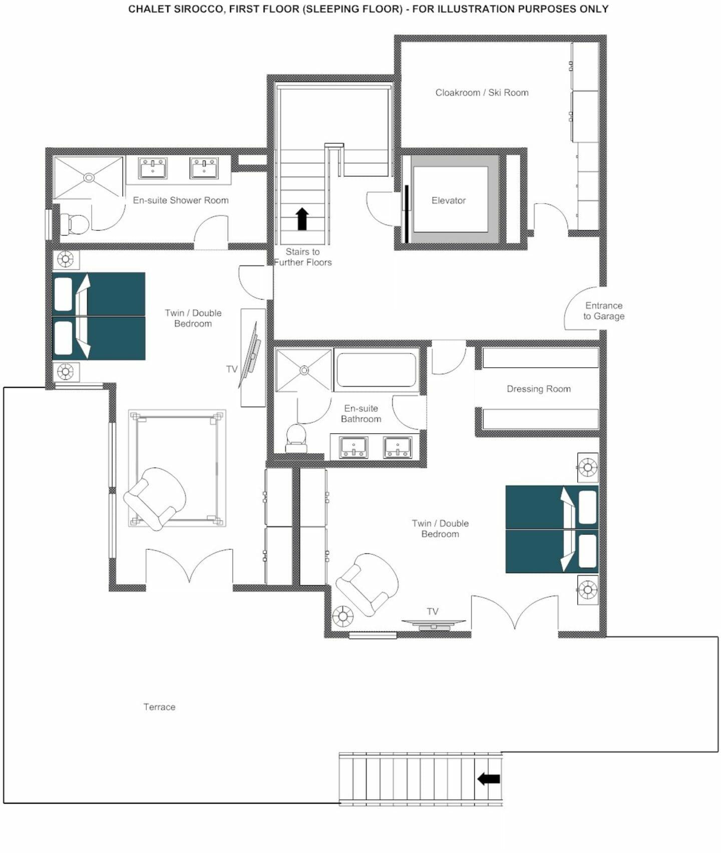 First Floor floor plans Chalet Sirocco, Verbier