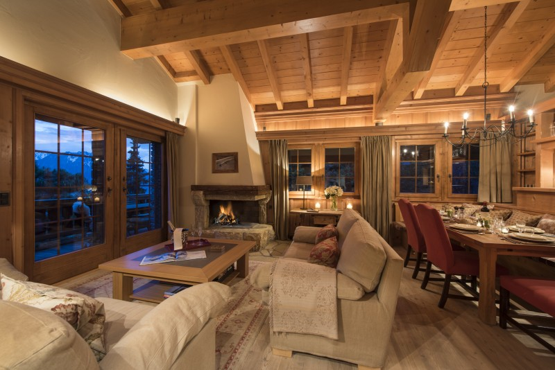 Lounge and dining room Chalet Ivouette, Verbier