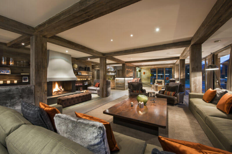 The Lodge Lounge, Verbier, with comfortable sofas and open fire