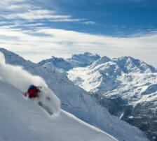 Powder skier- Grand Combin Glacier -Verbier, Switzerland