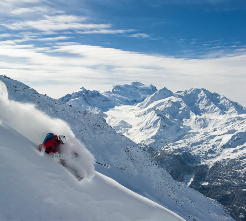 Powder skier- Grand Combin Glacier -Verbier, Switzerland