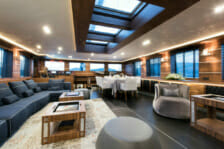 Sailing yacht Rox Star- lounge and interior dining- Mediterranean
