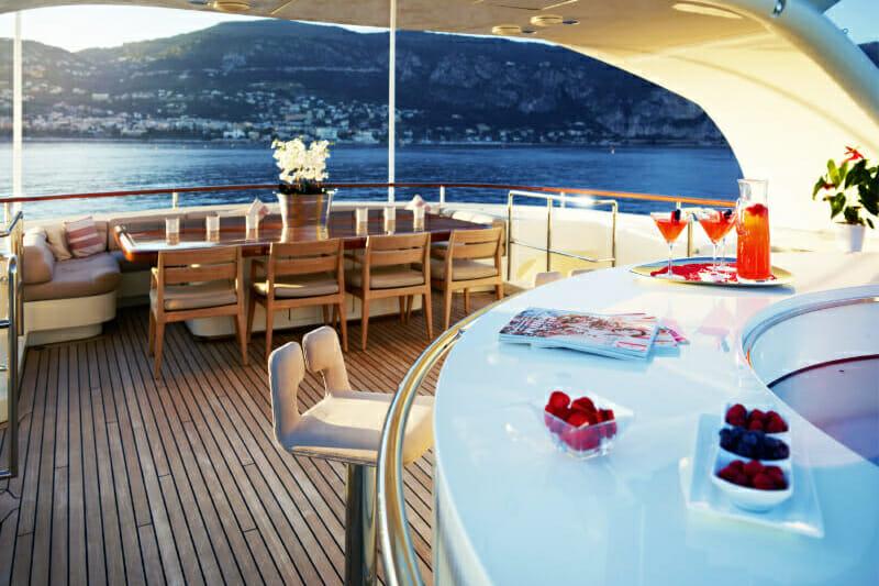 M/Y Nassima- aft deck-bar- Mediterranean